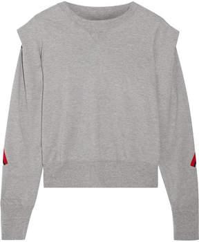 Facetasm Striped Wool-trimmed Cotton-jersey Sweatshirt - Gray
