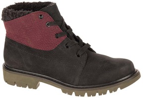 CAT Footwear Black & Wine Tasting Fret Leather Ankle Boot