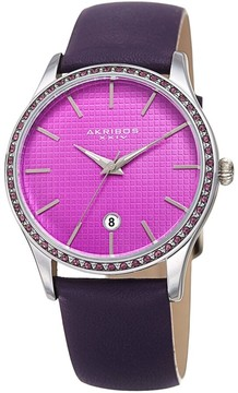 Akribos XXIV Purple Dial Leather Ladies Watch