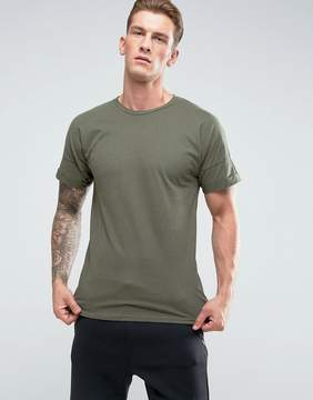 Pull&Bear Longline T-Shirt In Khaki Green