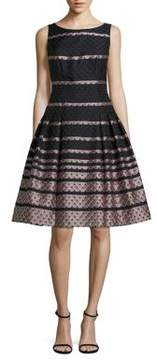 Carmen Marc Valvo Scalloped Fit-and-Flare Dress