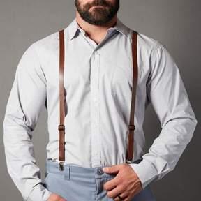 Blade + Blue Brown Leather Skinny Suspenders