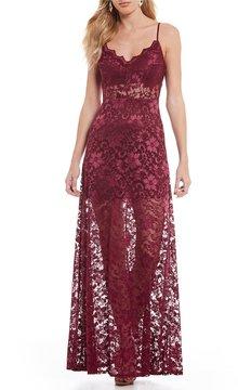 B. Darlin Spaghetti-Strap Long Lace Dress
