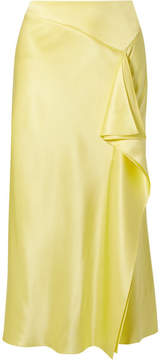 Cushnie et Ochs Alma Ruffled Silk-charmeuse Midi Skirt - Yellow