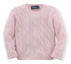 Ralph Lauren Cable-Knit Cashmere Sweater Morning Pink 24M