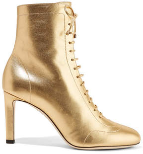 Jimmy Choo Daize 85 Lace-up Metallic Leather Boots - Gold