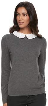 Elle Women's ElleTM Lace Collar Mock-Layer Sweater