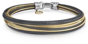 Alor 18K Gold Plated Stainless Steel Black Bracelet