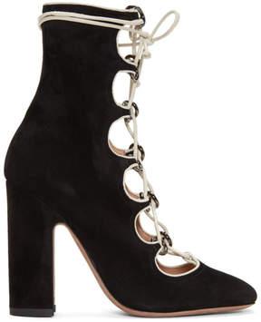 Valentino Black Garavani Suede Ghillie Boots