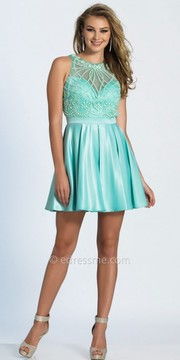 Dave and Johnny Beaded Open Back Pleated Fit and Flare Cocktail Dress