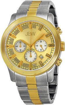 JBW Delano Gold-tone Sunray Chronograph Diamond Dial Two-Tone Steel Bracelet Men's Watch