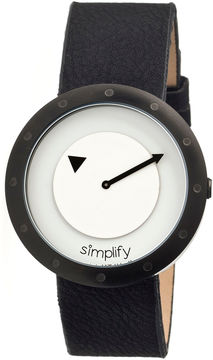 Simplify Unisex The 2200 Black with Silver Dial Black Leather-Band Watch SIM2205