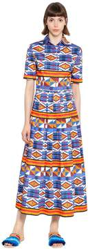 Stella Jean Geometric Print Plisse Cotton Dress
