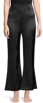 Fleur Du Mal Women's Corset Wide-Leg Silk Pants