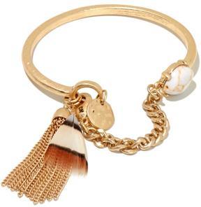 Danielle Nicole Enchanted Tribal Goldtone Feather Tassel Bracelet