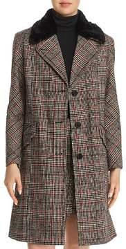 Black/White Faux-Fur-Trimmed Plaid Coat