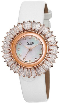 Burgi White Baguette Crystal Bezel Mother of Pearl Dial Ladies Watch