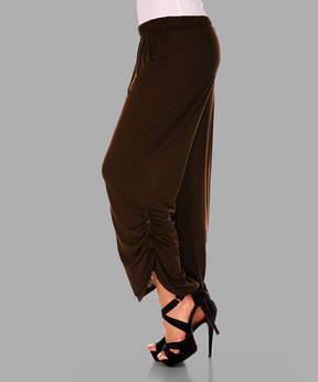 Lily Chocolate Button-Hem Pants - Women