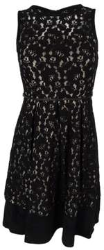 Calvin Klein Women's Belted Sleeveless Lace Flare Dress (0P, Black)