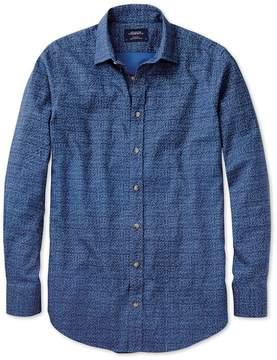 Charles Tyrwhitt Classic Fit Blue Print Cotton/linen Casual Shirt Single Cuff Size Medium