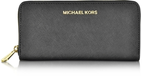 Michael Kors Black Jet Set Travel Saffiano Leather Continental Wallet - BLACK - STYLE