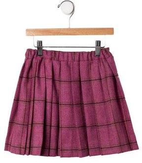 Oscar de la Renta Girls' Plaid Wool Skirt