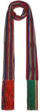 Missoni Fringed Metallic Crochet-knit Scarf - Red