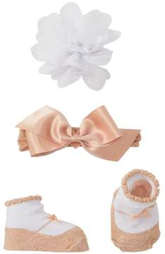 Little Me Elastic Bow Headband, Floral Clip, & Booties Set (Baby Girls)