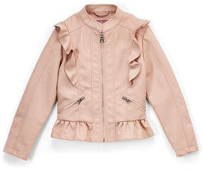 Urban Republic Rose Smoke Ruffle Faux Leather Jacket - Toddler & Girls