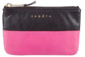 Sandro Colorblock Leather Zip Pouch