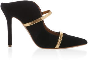 Malone Souliers Maureen Leather-Trimmed Velvet Mules