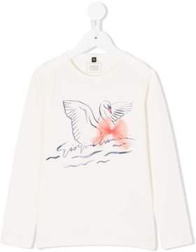 Emporio Armani Kids swan print longsleeved T-shirt