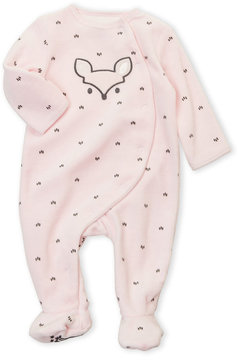 Petit Lem Newborn Girls) Velour Fox Footie