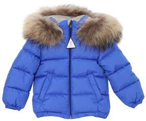 Moncler Bulgare Hooded Nylon Jacket W/ Fur