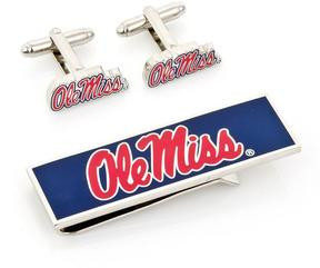 Ice Ole Miss University Rebels Cufflinks and Money Clip Gift Set