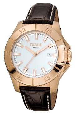 Ferré Milano Men's Swiss Made Swiss Quartz Dark Brown Leather Strap Watch.