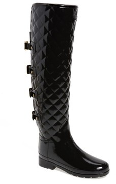 Hunter Women's Refined Gloss Quilted Over The Knee Rain Boot