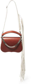 Calvin Klein Fringed Chain-trimmed Leather Shoulder Bag - Chocolate