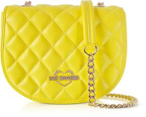 Love Moschino Yellow Superquilted Eco-Leather Small Crossbody Bag