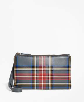 Brooks Brothers Tartan Leather Wristlet