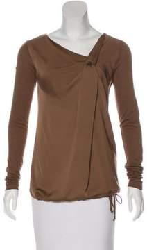 Trussardi Satin-Paneled Long Sleeve Top