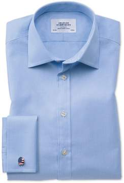 Charles Tyrwhitt Extra Slim Fit Oxford Sky Blue Cotton Dress Shirt Single Cuff Size 14.5/32