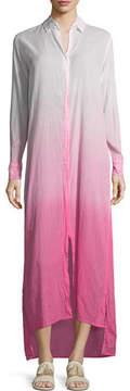 Letarte Button-Front Long Ombre Beach Shirtdress