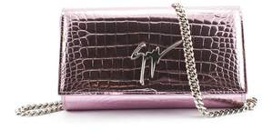 Giuseppe Zanotti Mirrored Pink Crocodile-embossed Calfskin Leather Clutch