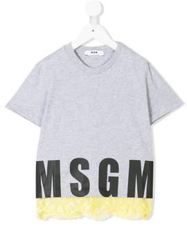 MSGM lace-trimmed logo print T-shirt