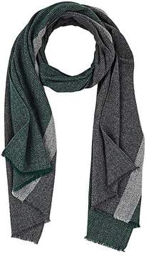Barneys New York MEN'S STRIPED HERRINGBONE WOOL-BLEND SCARF