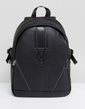 Versace Jeans Backpack In Black With Large Logo