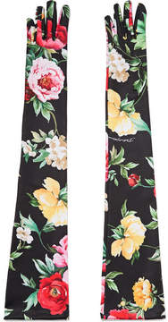 Dolce & Gabbana Floral-print Stretch-jersey Gloves - Black