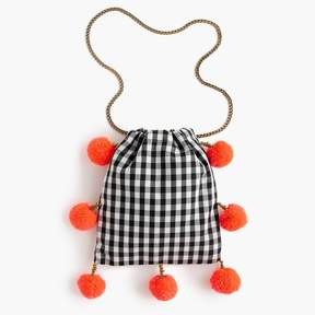 GaiaTM for J.Crew pom-pom bag in black-and-white gingham