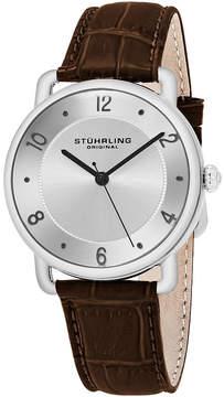 Stuhrling Original Mens Brown Strap Watch-Sp16355